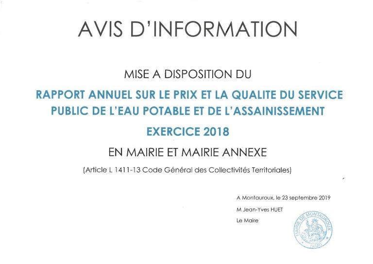 RAPPORT ANNUEL DE L'EAU – Exercice 2018