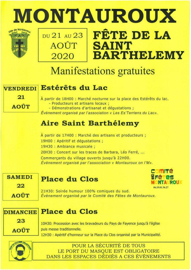 FÊTE DE LA SAINT BARTHÉLEMY DU 21 AU 23 AOÛT 2020